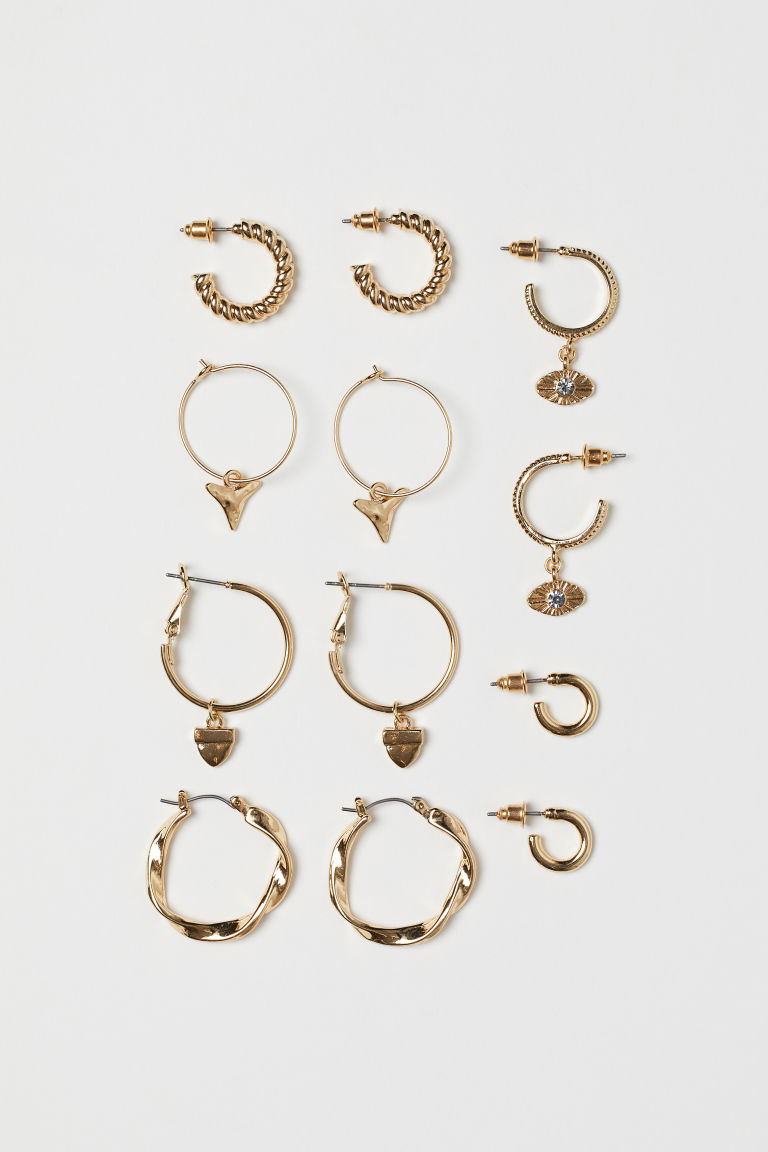 6 Pairs Earrings - Gold-colored - Ladies | H&M CA