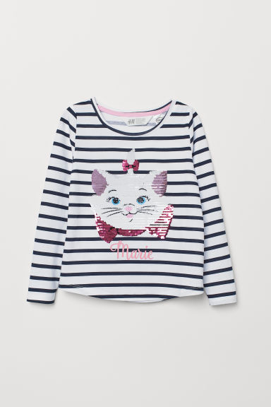 Top with reversible sequins - White/Aristocats - Kids | H&M CN