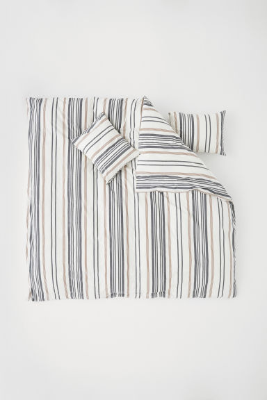 Striped Duvet Cover Set - White/striped - Home All | H&M US