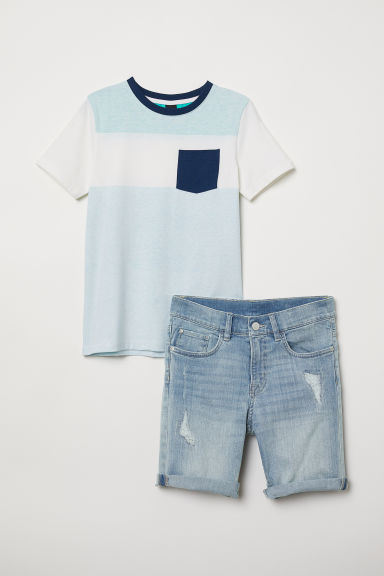 T-shirt e shorts in denim - Bianco/blu denim - BAMBINO | H&M IT