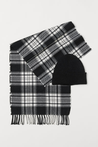 Hat and scarf - Black/Checked - Men | H&M