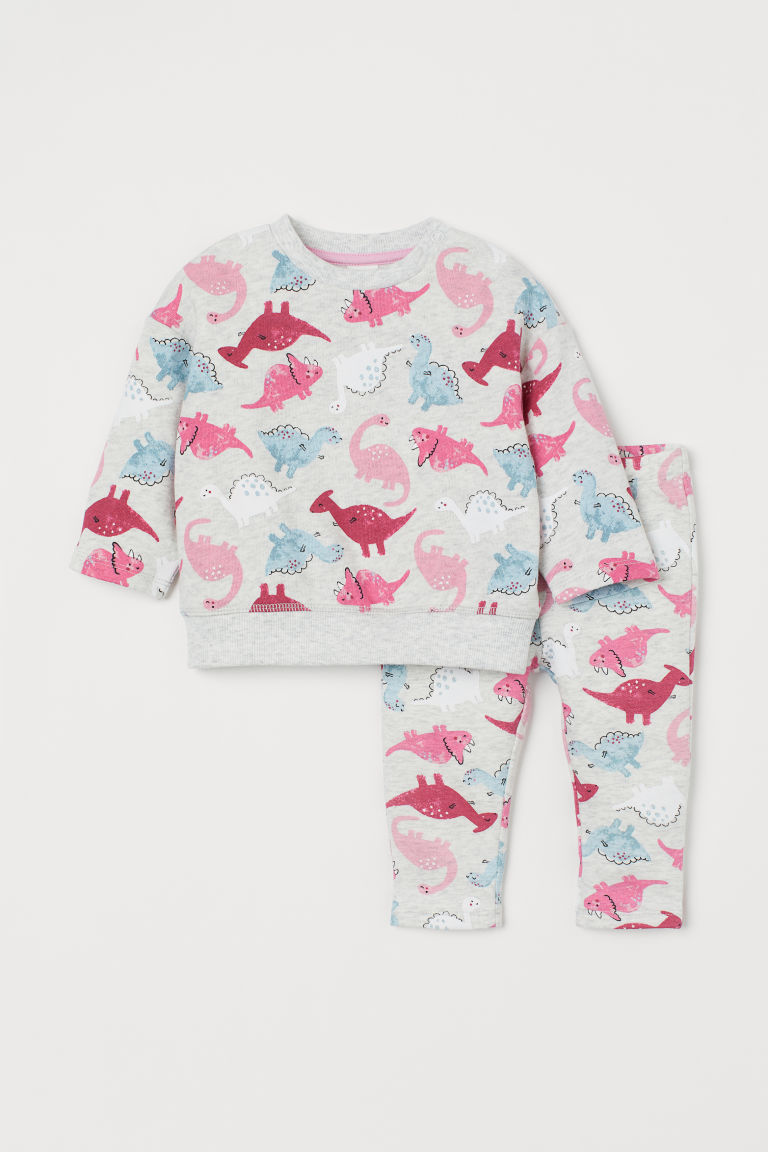Sweatshirt and leggings - Light grey marl/Dinosaurs - Kids | H&M