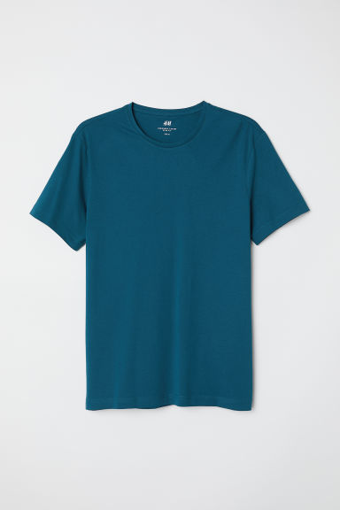 Round-neck T-shirt Slim fit - Dark turquoise - Men | H&M CN