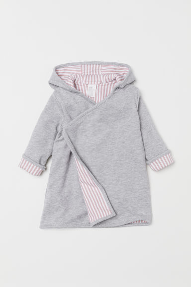Hooded dressing gown - Grey marl/Powder pink - Kids | H&M
