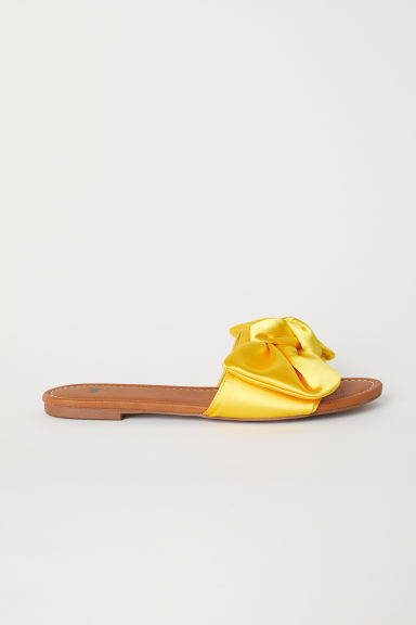 Slides with a bow - Bright yellow -  | H&M CN