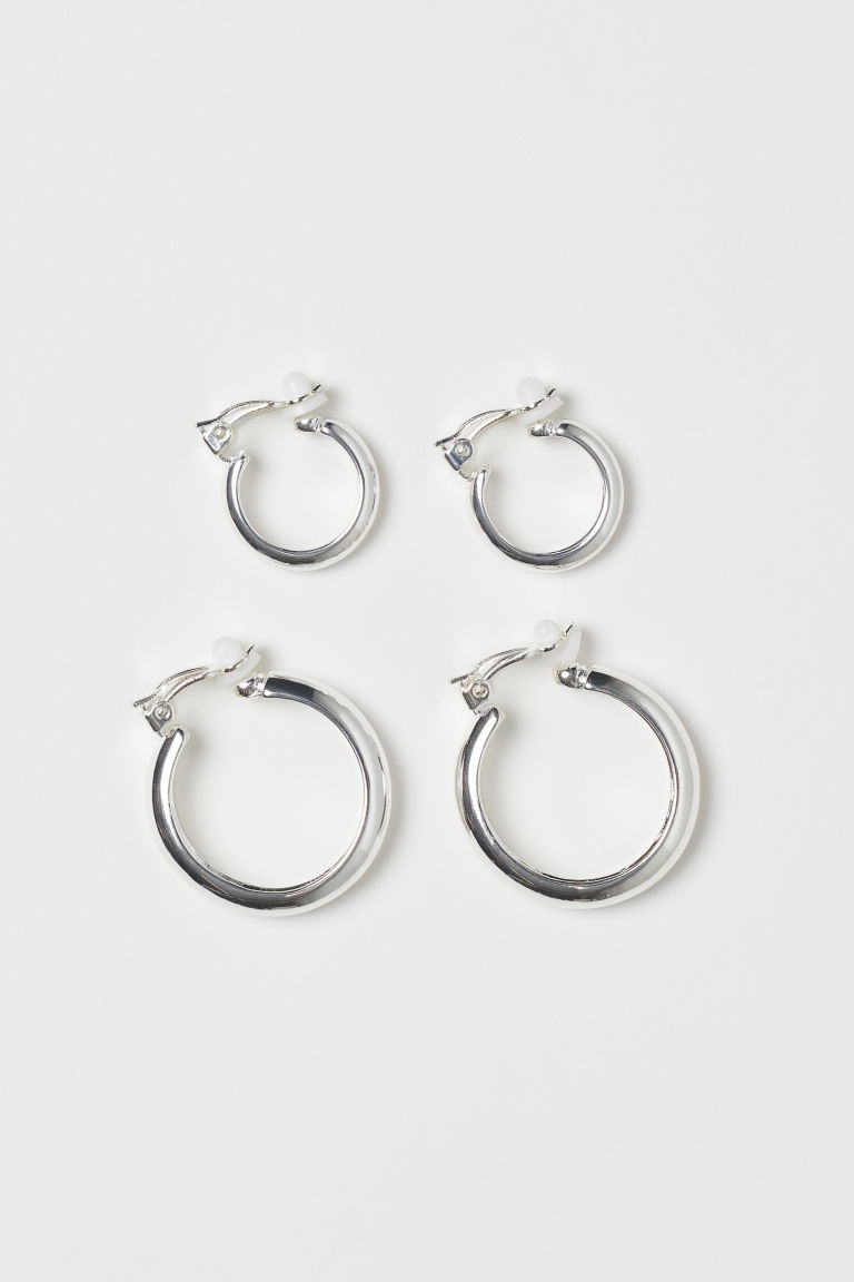 Two Pairs Clip Earrings - Silver-colored - Ladies | H&M US