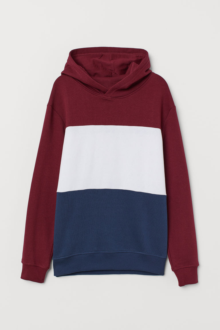 Hooded top - Dark red/Block-coloured - Kids | H&M IE
