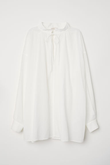 Wide cotton blouse - White -  | H&M