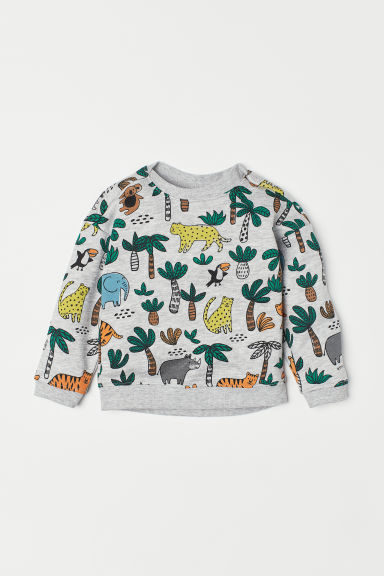 Printed sweatshirt - Light grey marl/Jungle -  | H&M CN