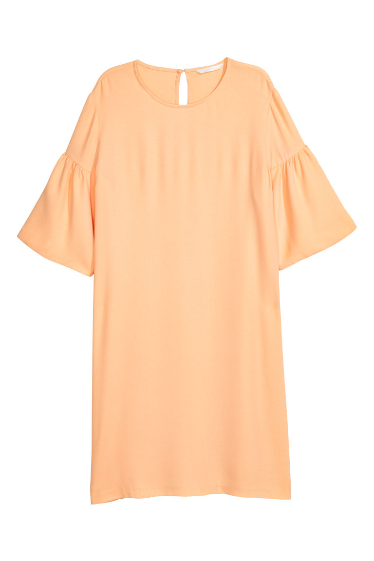 Flounce-sleeved dress - Peach - Ladies | H&M