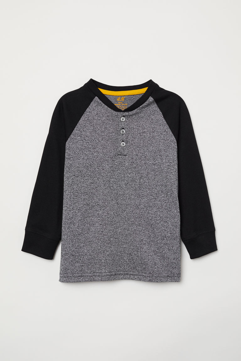 Henley top - Black marl - Kids | H&M
