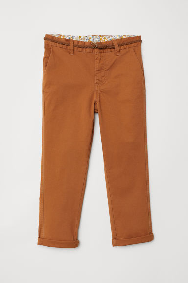Chinos with belt - Brown - Kids | H&M CN