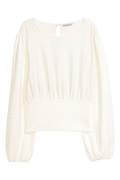 Textured-stripe top - Natural white - Ladies | H&M CN