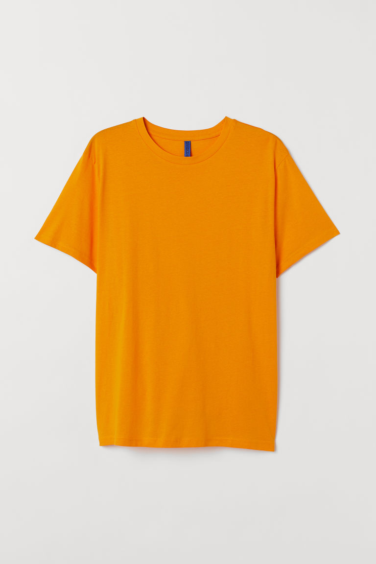 T-shirt i bomull Regular Fit - Orange - HERR | H&M SE