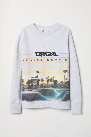 Printed sweatshirt - Light grey marl/Venice Session - Kids | H&M