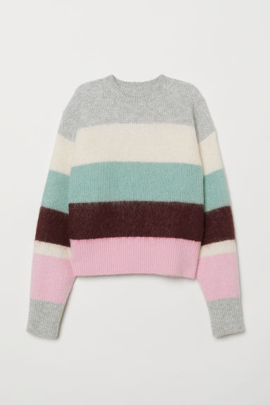 Knitted wool-blend jumper - Grey marl/Block-coloured - Ladies | H&M