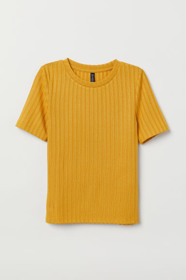 Ribbed T-shirt - Mustard yellow -  | H&M