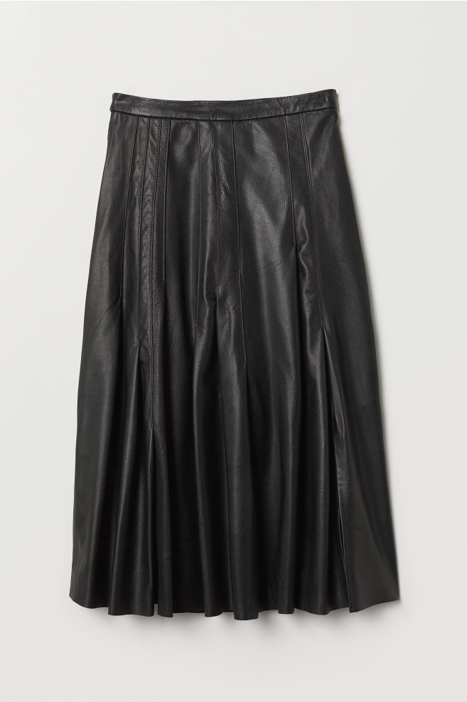 76ace5ff8203 Knee-length Leather Skirt - Black - | H&M ...