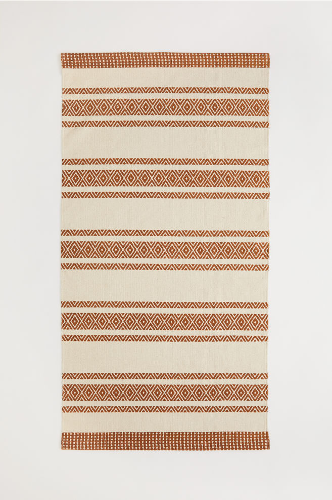 Tapis en coton à motif - Marron clair/écru - Home All | H&M FR