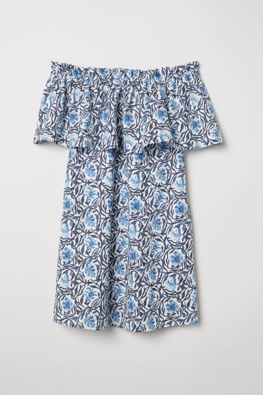 Off-the-shoulder dress - White/Blue patterned - Ladies | H&M CN