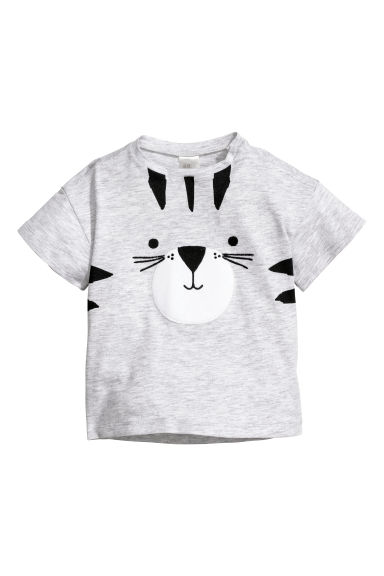 Cotton T-shirt - Light grey/Tiger - Kids | H&M CN