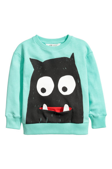 Printed sweatshirt - Light green - Kids | H&M CN