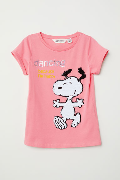 Top with reversible sequins - Pink/Snoopy - Kids | H&M CN
