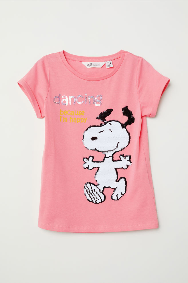 65d331d4 Top with Reversible Sequins - Pink/Snoopy - Kids | H&M ...