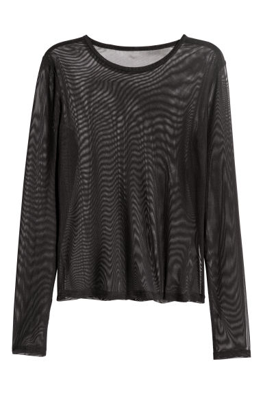 Mesh top - Black - Ladies | H&M