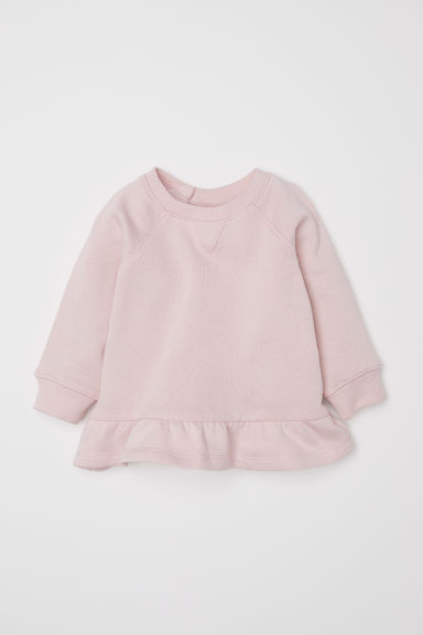 Flounced-hem sweatshirt - Powder pink - Kids | H&M CN