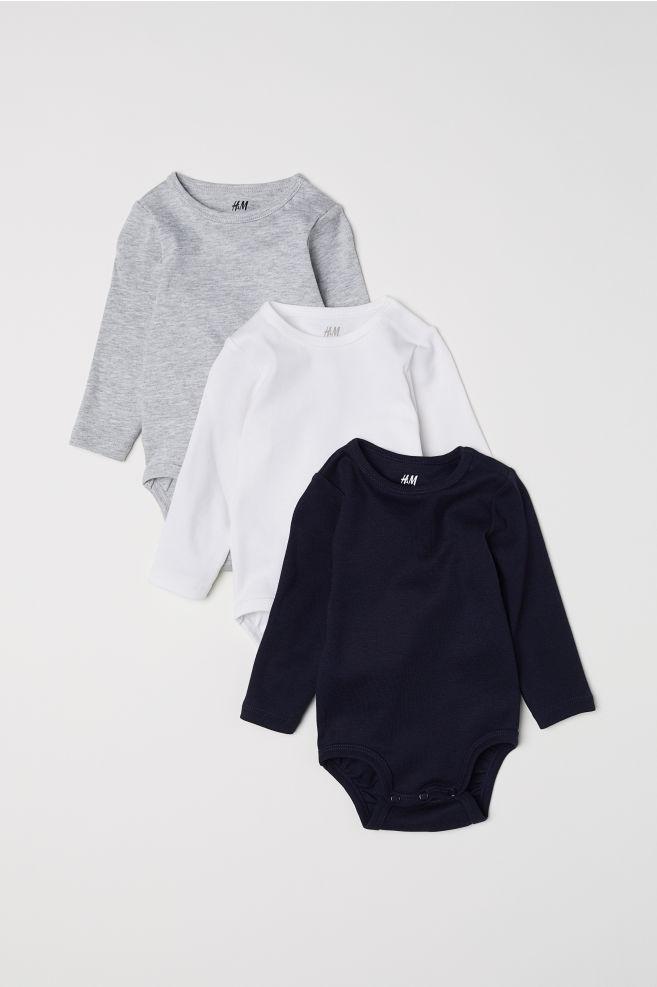 f7d1f9a5c33f2 3-pack Long-sleeved Bodysuits - Dark blue/white/gray melange - Kids ...