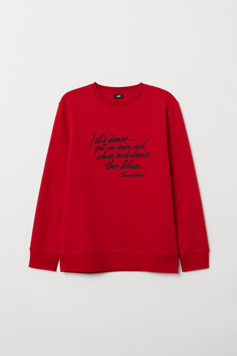 Sweatshirt with embroidery - Red/David Bowie - Men | H&M