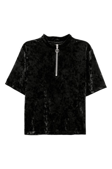 Crushed velvet top - Black - Ladies | H&M