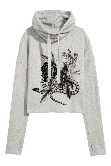 Funnel-collar sweatshirt - Grey marl/Skull - Ladies | H&M CN