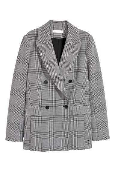 Double-breasted jacket - Black/Dogtooth - Ladies | H&M