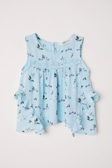 Crinkled blouse - Light turquoise - Kids | H&M CN