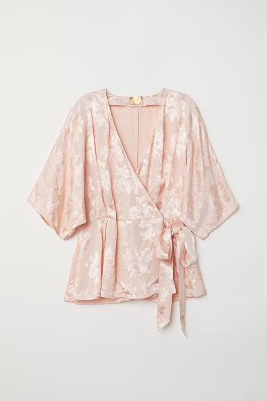 Jacquard weave wrapover blouse - Powder pink - Ladies | H&M