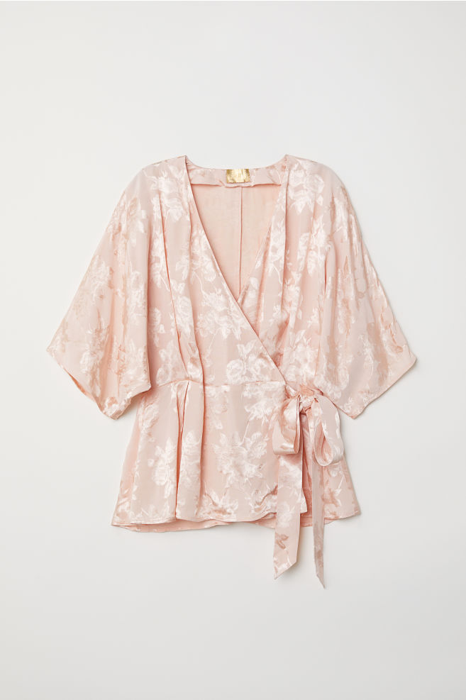 a4569004f4d73f Jacquard-weave Wrapover Blouse - Powder pink - Ladies | H&M ...