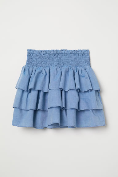 Tiered skirt with smocking - Blue - Kids | H&M CN
