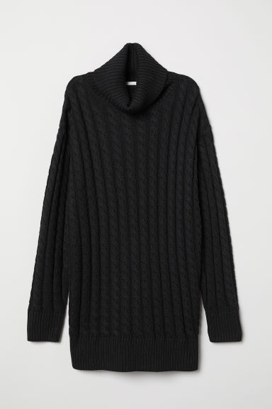 Cable-knit polo-neck jumper - Black - Ladies | H&M CN