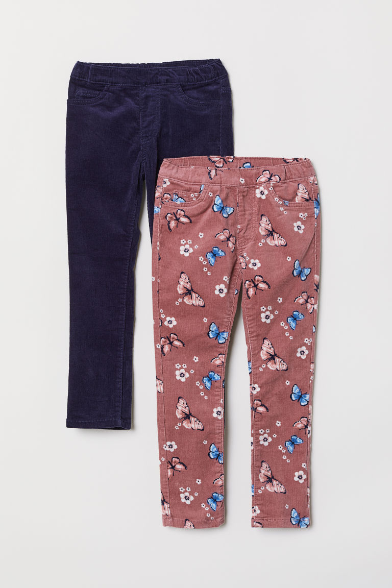 Treggings in velluto a coste - Rosa vintage/farfalle - BAMBINO | H&M IT