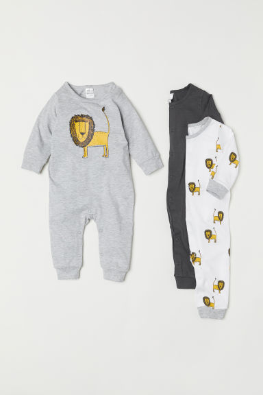 3-pack cotton pyjamas - Grey/Lion - Kids | H&M