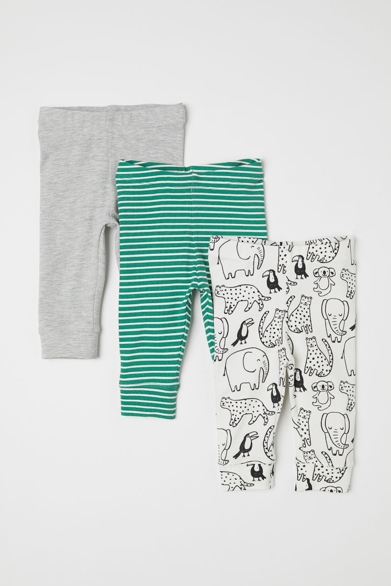 Leggings en coton, lot de 3 - Vert/blanc rayé -  | H&M BE