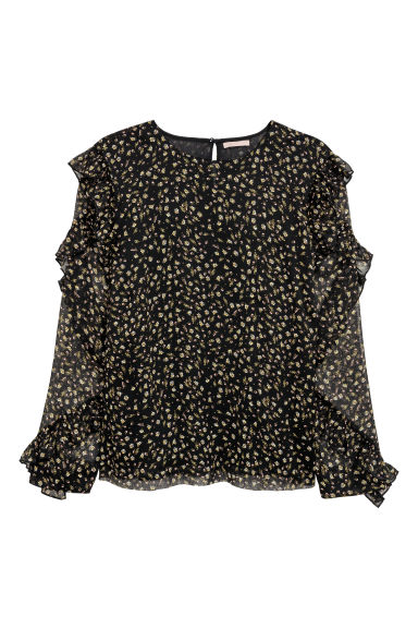 H&M+ Flounced blouse - Black/Floral -  | H&M