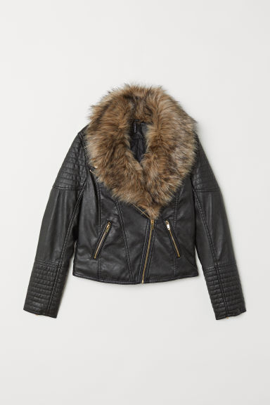 Faux fur collar biker jacket - Black - Ladies | H&M