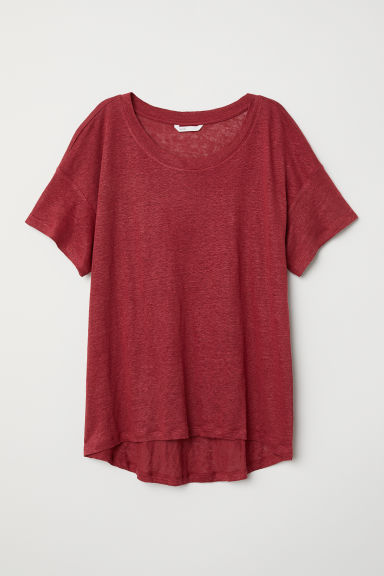 T-shirt in lino - Rosso scuro - DONNA | H&M IT