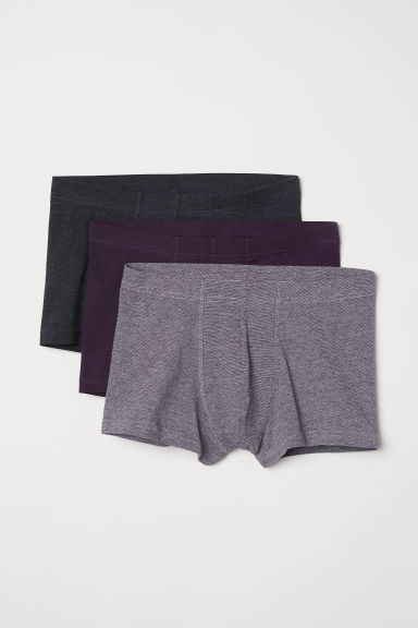 3-pack short trunks - Dark purple/Multicoloured - Men | H&M GB