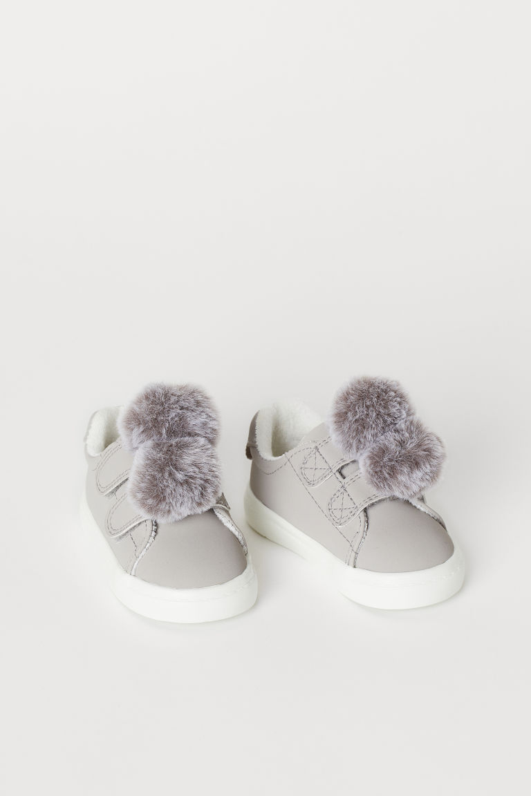 Baskets avec applications - Gris clair/pompons - ENFANT | H&M CH
