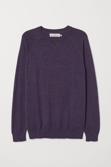 Cotton raglan-sleeved jumper - Purple marl - Men | H&M