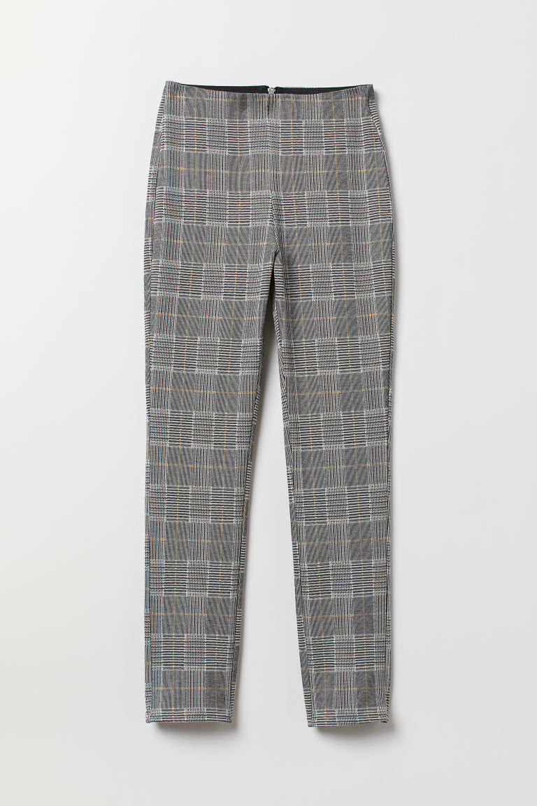Stretch trousers - Dark grey/Checked - Ladies | H&M